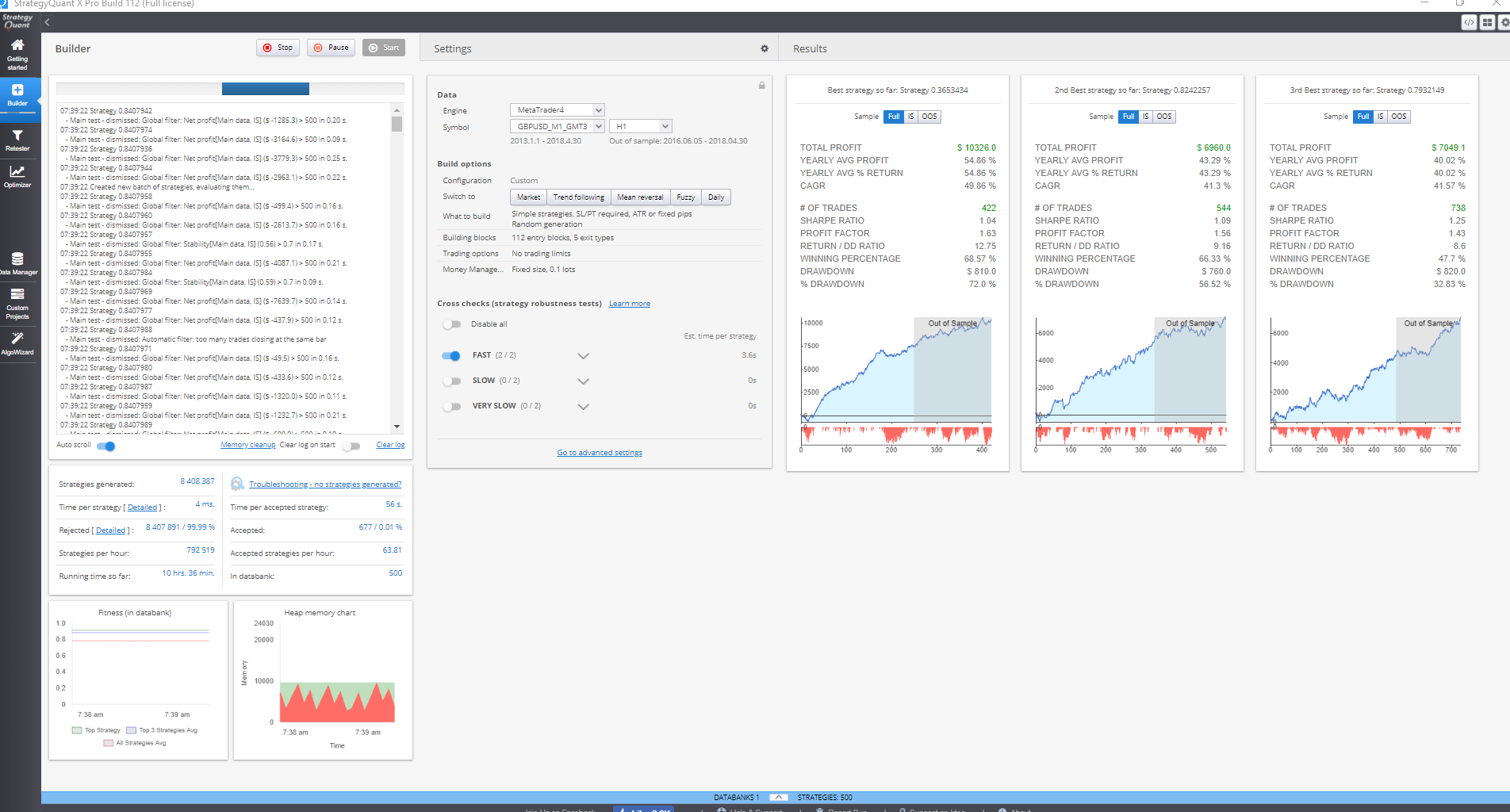 Build 113] Build 112 Back Screen - Strategy Quant
